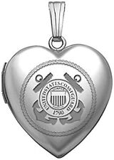Sterling Silver Coast Guard Heart Locket 3/4 Inch X 3/4 Inch