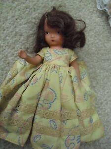 "Vintage 1950s Storybook Dolls Hard Plastic Auburn Hair Girl Doll 5 1/2"" Tall"