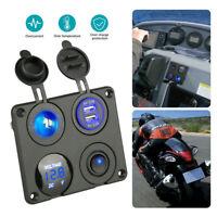 4-in-1 Panel Dual USB Socket Charger+LED Voltmeter+12V Power Outlet for Car Boat