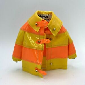 Vintage 1965 Barbie Francie Clam Diggers #1258 Vinyl Coat  orange yellow
