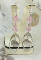 Pink Drop Earrings Dangle Hook Faceted Chrome Effect Long Silver Coloured Metal