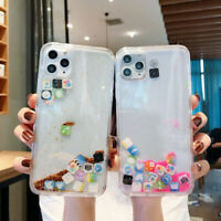 For iPhone 11 X 7 8+ App Icon Dynamic Liquid Glitter Quicksand Clear Case Cover