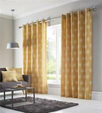 Lined curtains ochre yellow or grey pair of eyelet ring top ready to hang