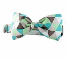Taupe and Green Diamonds Bow Tie Dog Collar