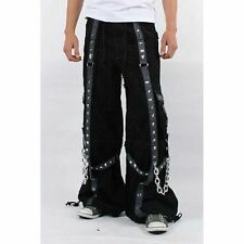Tripp Baggy Pants bondage gothic cyber Techno shorts blck cotton chains fetish S