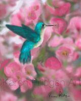 ACEO ATC Art Card Painting Print Signed Bird Hummingbird Apple Blossoms Flowers