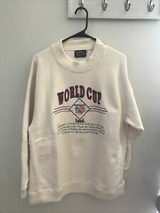 1994 World Cup USA Soccer White Sweater Men's Size XL Nutmeg Mills small stain