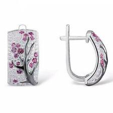 925 Silver Red Ruby Flower Plum Blossom Ear Stud Hoop Earrings Women Jewelry
