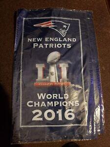 "NFL NEW ENGLAND PATRIOTS 2016 WORLD CHAMPIONS SUPER BOWL LI BANNER 8""X 14"" NEW"