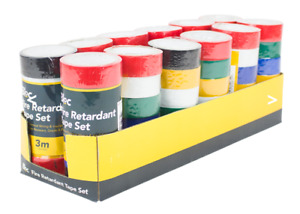 Fire Retardant PVC Tape PDQ Electrical Wiring Insulation Set  6 Pack UK colours