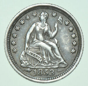 USA, LIBERTY SEATED SILVER HALF DIME, ARROWS AT DATE, 1853 NEW ORLEANS MINT COIN