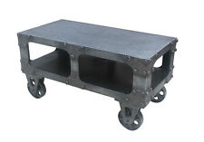 Industrial Metal Look Cart Coffee Television Table With Carriage Wheels