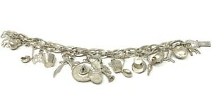 VINTAGE SIGNED MADE IN MEXICO STERLING SILVER CHARM BRACELET ARTISAN STUNNING