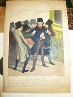 HONORE DAUMIER Litho COULEUR LA CARICATURE JOURNAL VOYAGE PARIS 1843 D1012