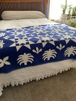 IBENA Blanket Throw Blue White Tropical Star Quilt Reversible Germany 76x50 SOFT