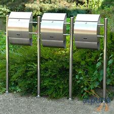 acier inox Trois boîtes aux lettres Oskar brossé 3 FOIS 3er Boîte aux lettres
