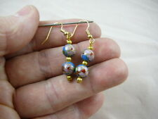 (EE600-100) 8 mm BLUE pink flower two bead CLOISONNE dangle EARRINGS Jewelry