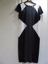 Lovely M & Co Black, Grey and White Panel Dress - Size 10