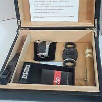 Leather Travel  Cedar Cigar Humidor Cigar Humidifier Hygrometer, lighter, cutter