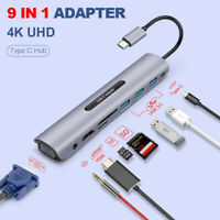 9in1 USB-C to USB3.0x3 Hub TF SD Slot HDMI VGA Audio USB-C PD MultiPort Adapter