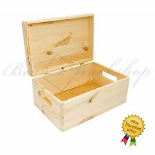 Wooden storage box with lid, wooden box with handles, plain wooden box