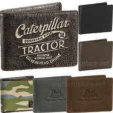 Caterpillar Wallet Men Genuine Leather Billfold Wallets Bifold Camo Black Brown