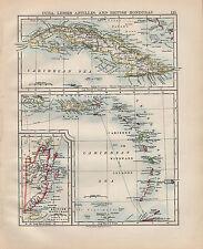 1900 VICTORIAN MAP ~ CUBA LESSER ANTILLES BRITISH HONDURAS CARIBBEAN