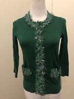 Kate Spade Sz XS Kelly Green Cardigan Sweater Silk Boucle Tweed Trim 3/4 Sleeve