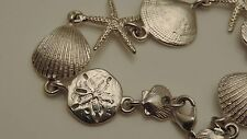 "Nautical Seashell Sea Star Starfish Sand dollar Clam Shell 7.5"" Bracelet 8a 19"