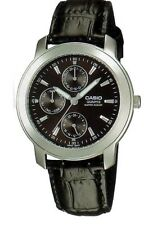 Casio MTP-1192E-1A Men Watch Leather Quartz with Black Dial