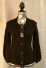Per Se Women's Black Cardigan with Silver Toggle Closures Size M Medium