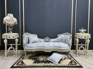 French Style Settee/ Gold Leafed with Silver Shades / Tufted Silver Velvet