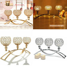 3 Head Crystal Candle Holders Candlesticks Dining Room Metal Table Centerpieces