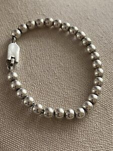 """Vintage Taxco Plata Mexico Sterling Silver Ball Bead Bracelet 7 3/4"""""""