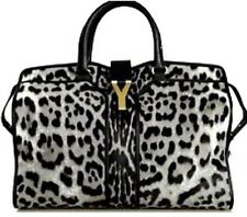 YSL SILVER LEOPARD PRINT PONY FUR CABAS CHYC HANDBAG BAG BLACK LEATHER NEW NWT