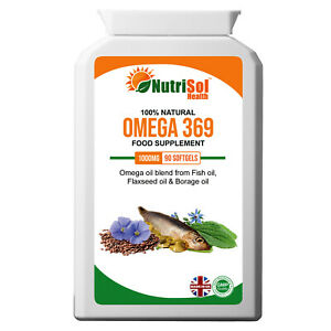 Omega 3, 6 & 9 Fish, Borage & Flax Seed Oil 1000mg 90 Capsules ALA EPA DHA