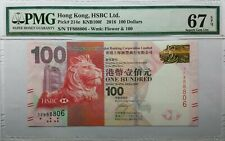 "PMG67, 2016 Hong Kong HSBC ""TF888806, Lucky Number Series"", $100 Banknote"