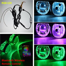 Bluetooth Remote Control RGB LED Head Lights For Retrofit Projectors Lens Lamps