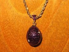 Russian FABERGE inspired PURPLE ENAMEL Swarovsky Crystals GOLD EGG pendant chain