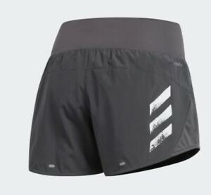 Womens Running Shorts Adidas Run It 3 Stripes PB Ladies Grey Sustainable Fitness