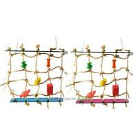 New Colorful Parrot Pet Bird Hanging Chew Toy Bells Ball Wood Blocks Swing Toy