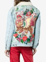 Gucci $6500 Shearling-Lined Embroidered Denim and Jacquard Jacket New