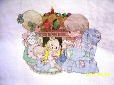 finished counted cross stitch PRECIOUS MOMENTS CHRISTMAS BY THE FIREPLACE  new
