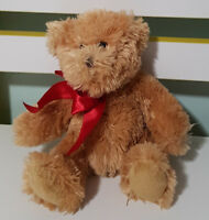 RUSS BERRIE TEDDY BEAR PLUSH TOY RED BOW! SOFT TOY ABOUT 14CM SEATED KIDS TOY!