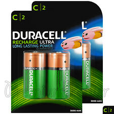 4 x Duracell Recharge Ultra C Size batteries 3000mAh NiMH 1.2V HR14 DC1400