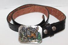 Vntg~1990~BERGAMOT Brass Works~BOW HUNTER Buck BUCKLE & Black LEATHER Belt~G900