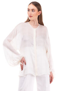 RRP €730 ETRO Silk Shirt Blouse Size XXL Jacquard Check Ivory Made in Italy