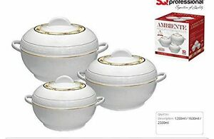 SqPro Ambinate Small 3pcs set Insulated Casserole Hot Pot 1.2l 1.6l 2.5l White