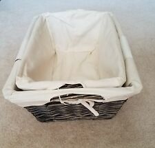 ***NEW*** Set of 2 Wicker Willow Storage Baskets With Removable Lining