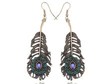 Gold Violet Rhines Peacock Feather Dangling Fashion Earrings Party Chic Jewelry
